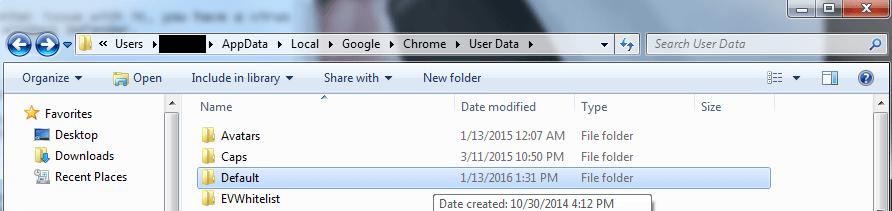 Rename the Folder to Backup Default